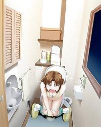 Anime girls on the toilet